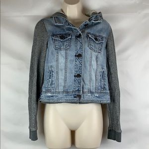 American Eagle French Terry hooded denim jacket